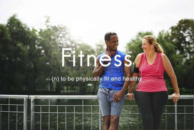 户外健身行使人图表概念 免版税图库摄影