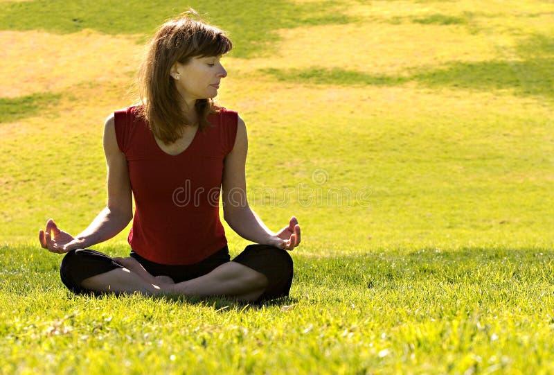 户外实践的女子瑜伽 库存图片