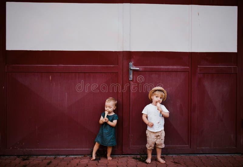 户外小两个小孩孩子在夏天,吃冰淇淋 免版税库存图片
