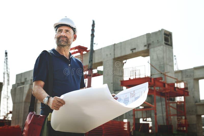 户外工作建造场所概念的建筑师 库存照片