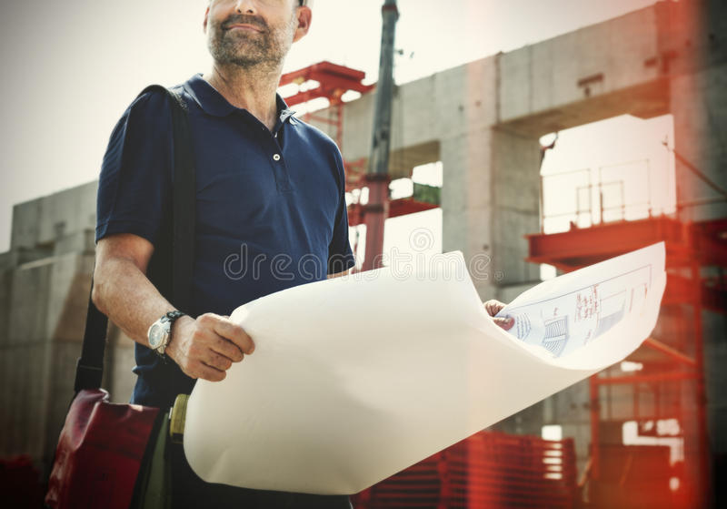 户外工作建造场所概念的建筑师 免版税图库摄影
