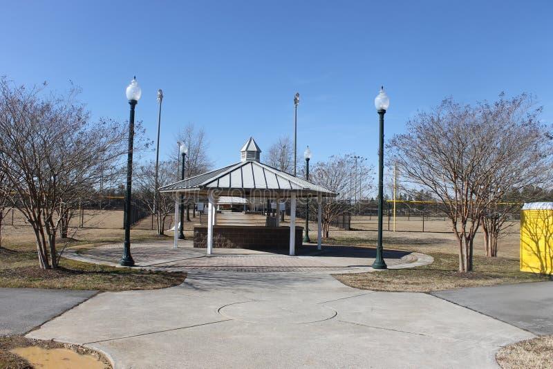 户外森林野餐和蓝天在公园 免版税图库摄影