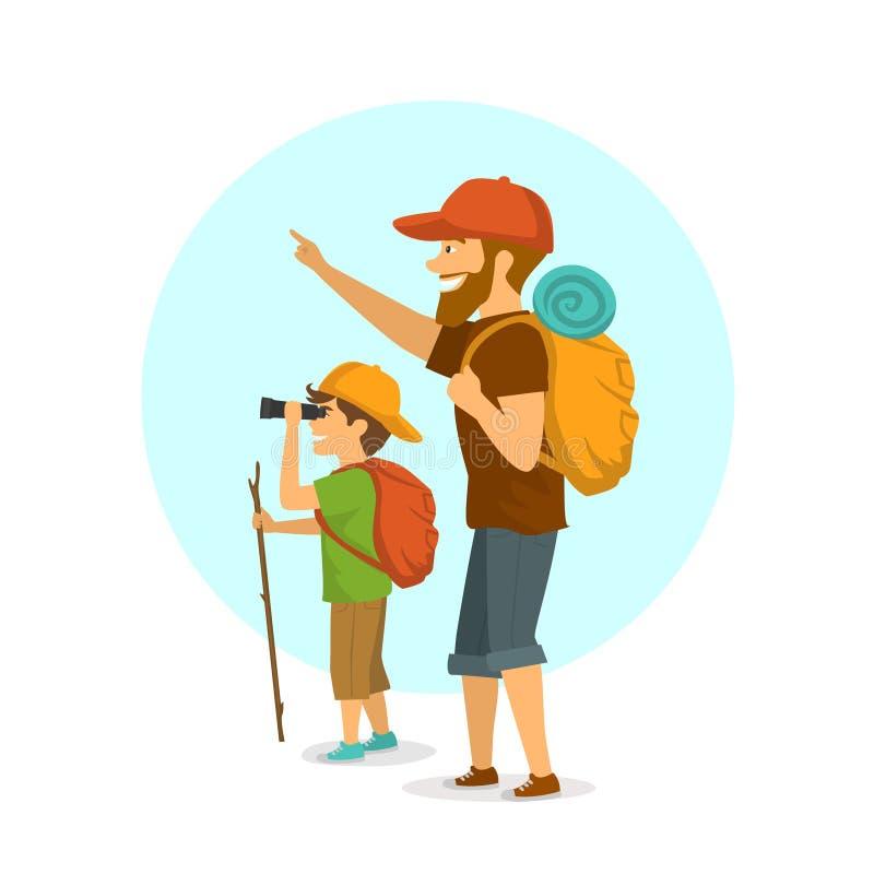 户外父亲和儿子,野营的男孩和的人远足旅行与背包隔绝了动画片传染媒介例证 库存例证