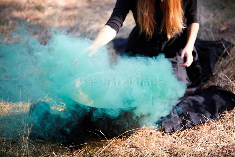 户外绿色木头的森林神秘巫婆 免版税库存照片