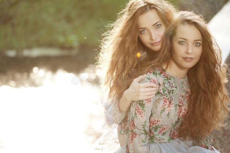 户外美丽的年轻孪生 免版税库存照片