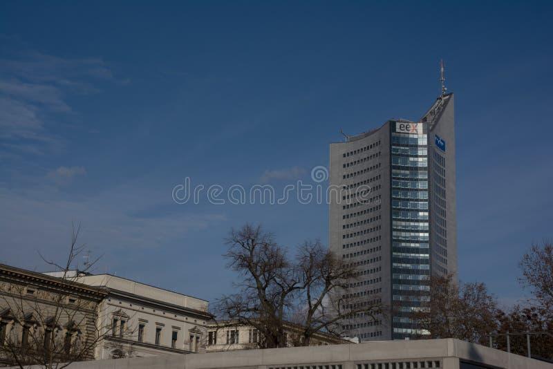 户外莱比锡全景塔高层摩天大楼蓝天G 库存照片