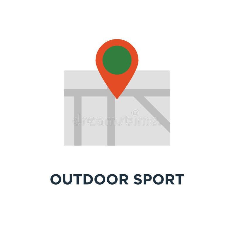 户外运动活动象 与旗子概念标志设计,乡下风景的足迹地图,远足日程传染媒介 库存例证