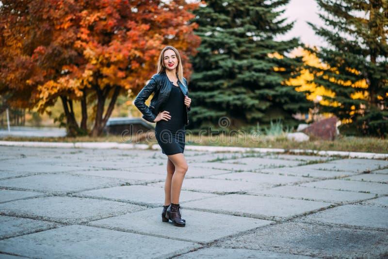 户外黑短的礼服和皮夹克的性感的妇女 库存照片