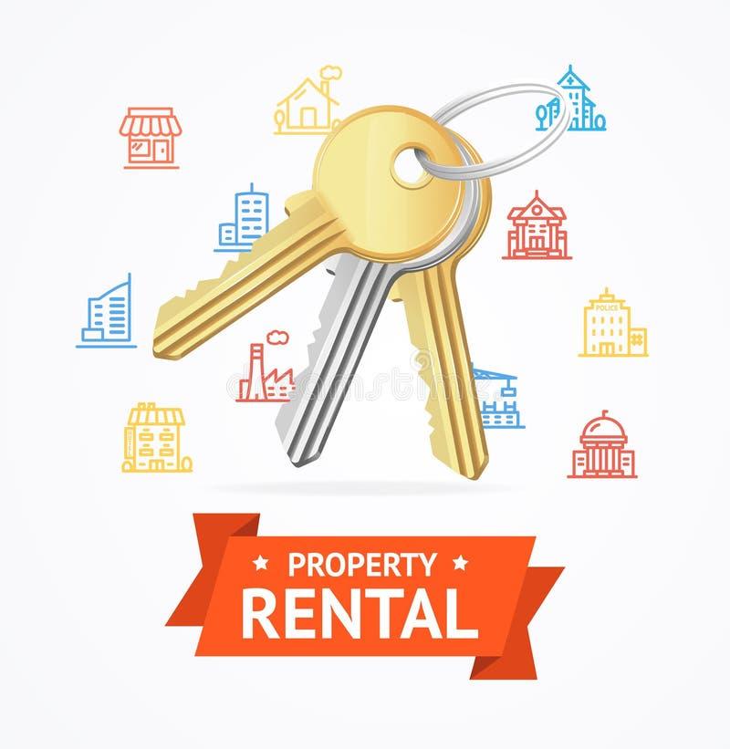 房产租务概念的现实详细的钥匙 向量 皇族释放例证