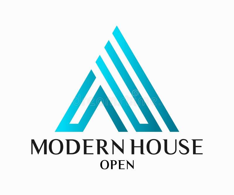 房地产、大厦、建筑和建筑学商标传染媒介设计 库存例证