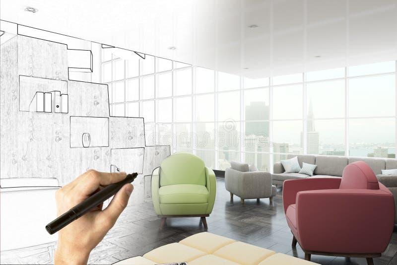 房地产、工程学和计划概念 向量例证