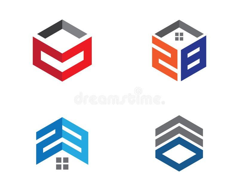 房地产、物产和建筑商标设计 向量例证