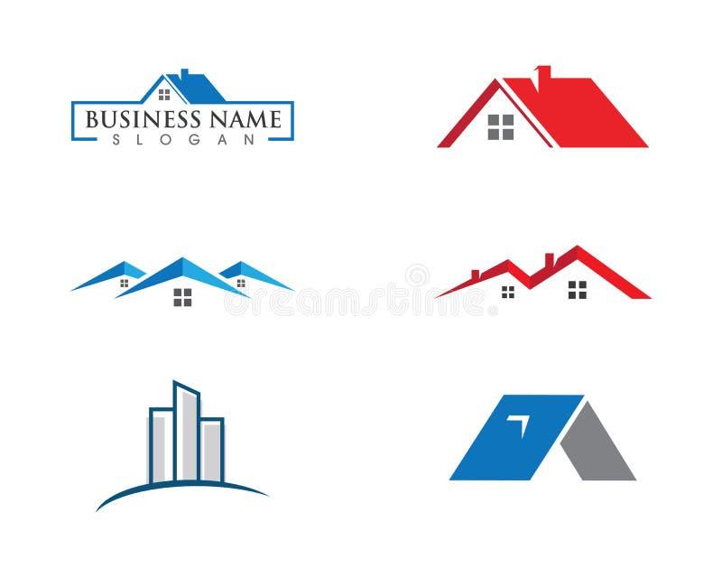 房地产、物产和建筑商标设计 库存例证