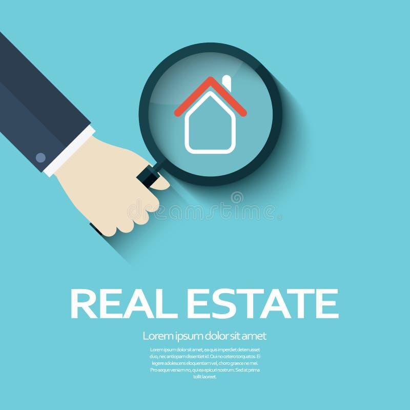 房地产与放大镜的企业背景作为搜寻的标志物产 公司标志 皇族释放例证
