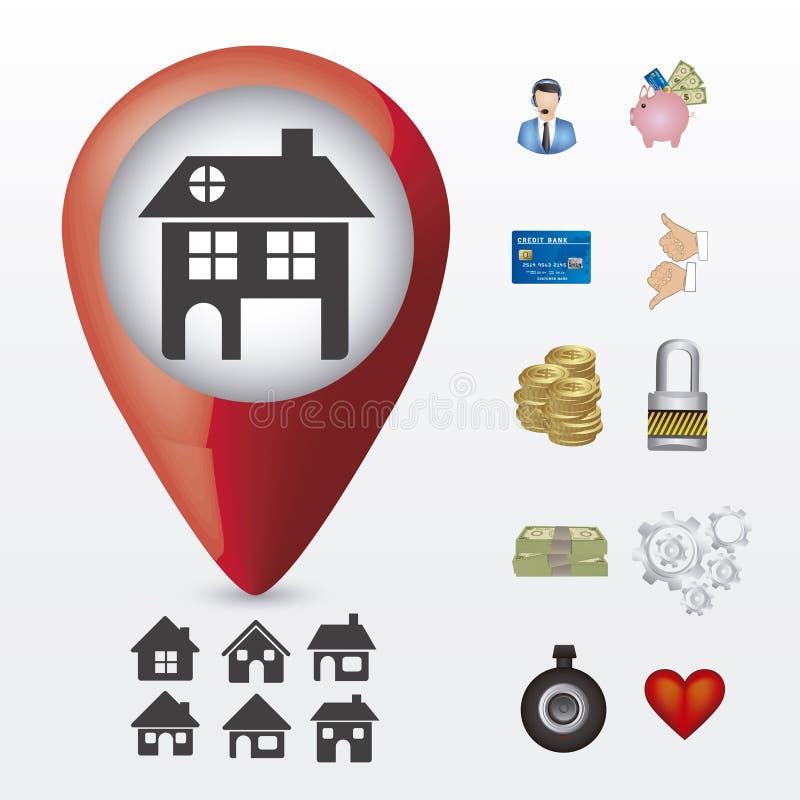 Download 房地产和房子象 向量例证. 插画 包括有 居住, 附属品, 象征, 传送带, 建筑, 社区, 赊帐, 阵营 - 30331487