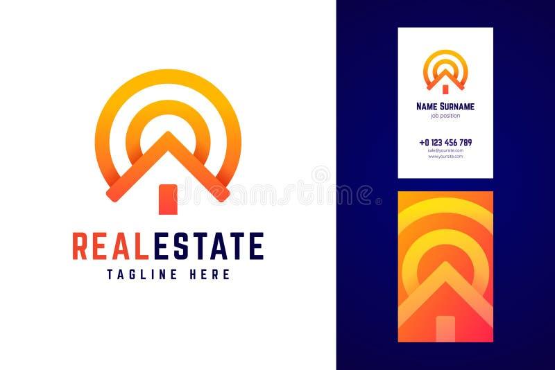 房地产商标和名片模板 库存例证