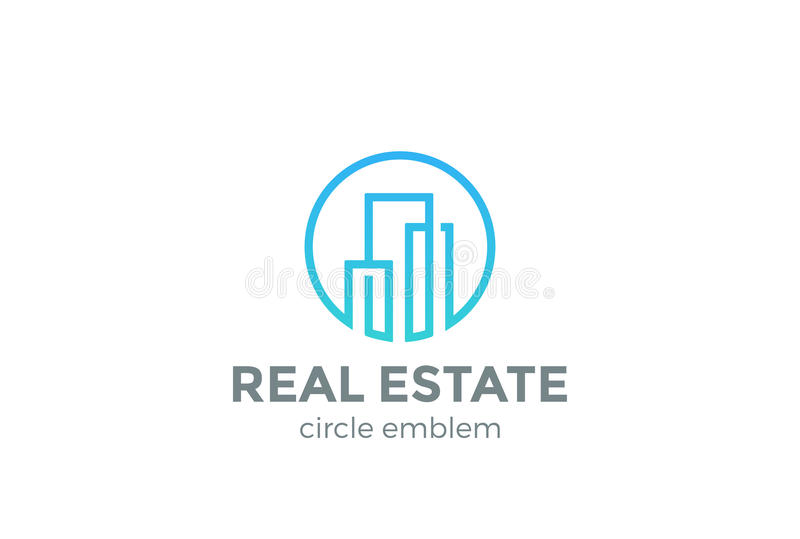 房地产商标设计传染媒介线性大厦 向量例证