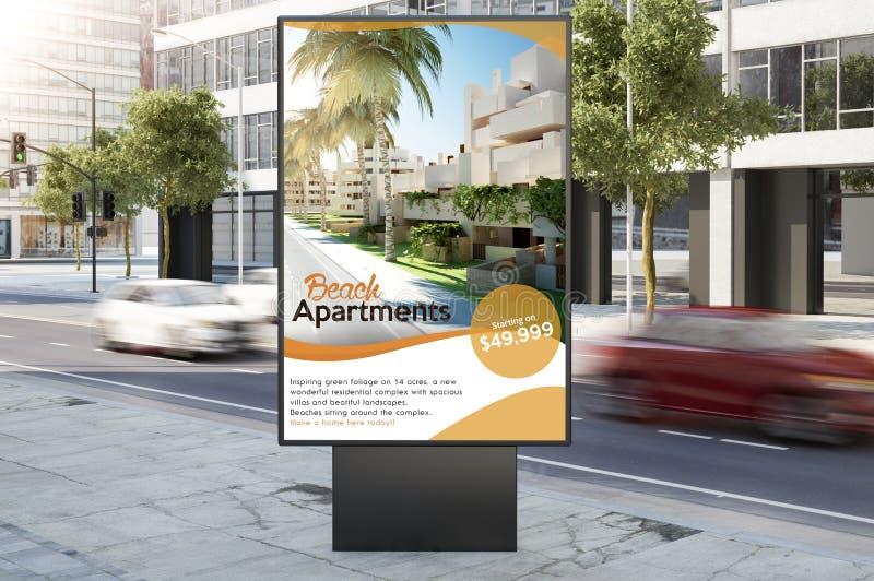 房地产在城市街道上的海报广告牌 皇族释放例证