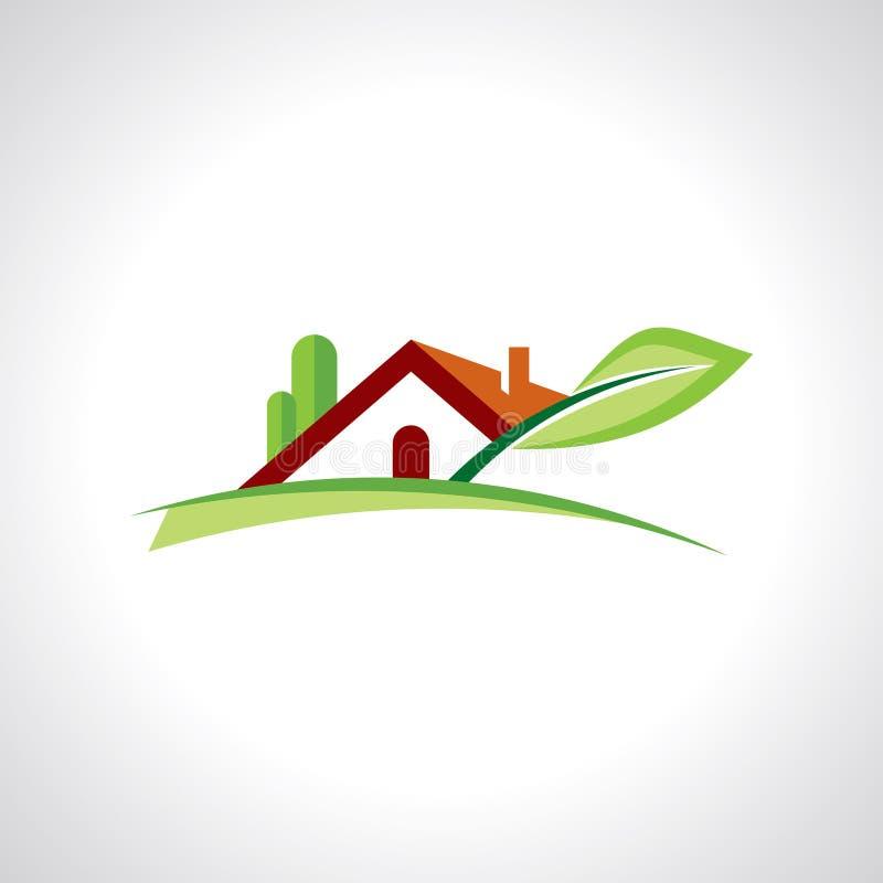 房地产在白色背景的手段象 库存例证