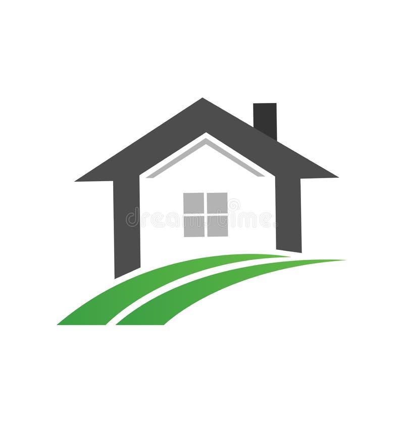 房地产家和绿色路道路,象传染媒介 库存例证