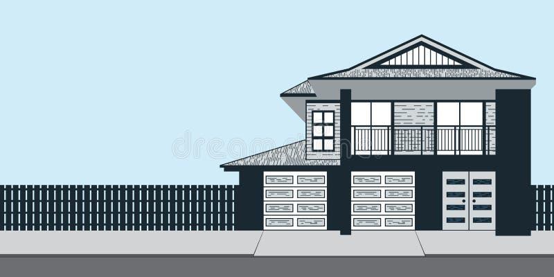 房地产家庭招待会广告或岗位的蓝色议院 皇族释放例证