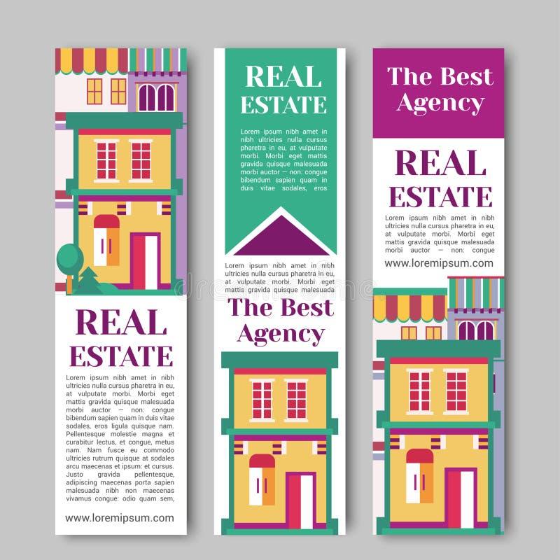 房地产平的垂直的横幅设置了与房子商标,丝带,树 村庄公寓租务和买的传染媒介 库存例证