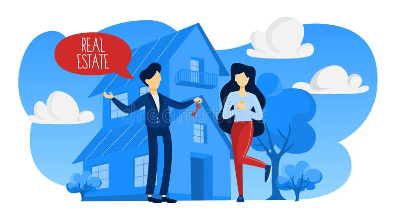 房地产开发商概念 议院销售提供 向量例证