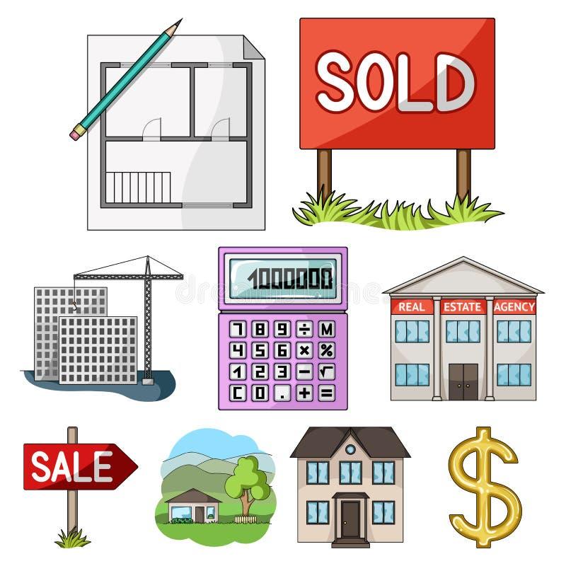 房地产机构和其他属性 在动画片样式的地产商集合汇集象导航标志储蓄例证 库存例证