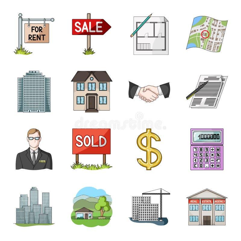 房地产机构和其他属性 在动画片样式的地产商集合汇集象导航标志储蓄例证 向量例证