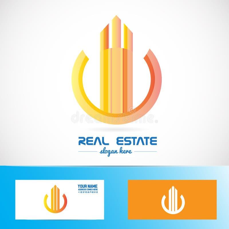 房地产橙色大厦抽象符号商标 库存例证