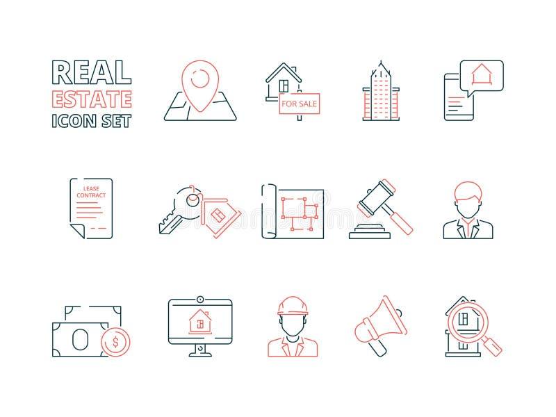 房地产线象 修造的销售房子不动产企业房主导航色的稀薄的标志 库存例证