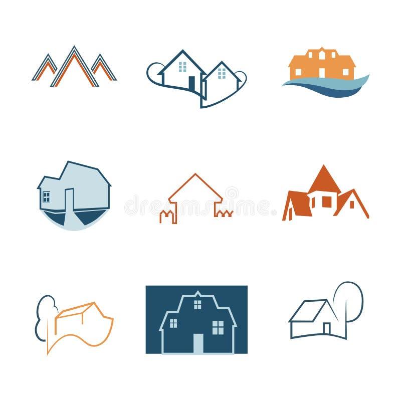 房地产被设置的网象 议院商标 建筑商标 向量 向量例证