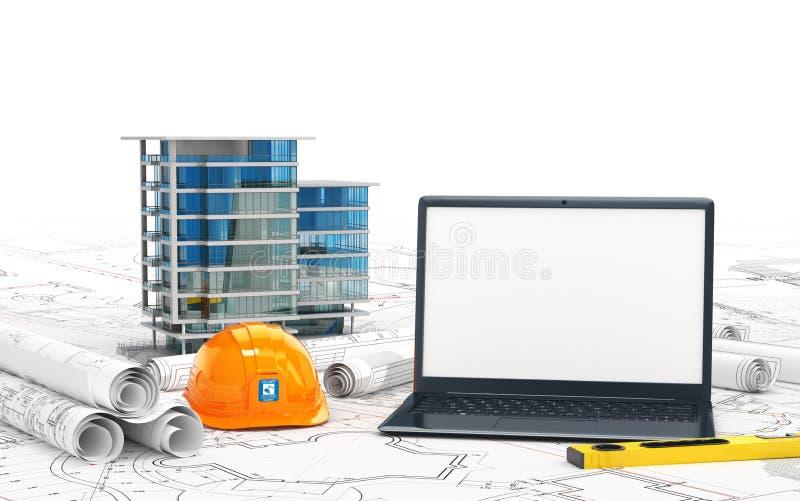 房子、画的项目、一件盔甲和一台开放膝上型计算机的计划有黑屏的 向量例证
