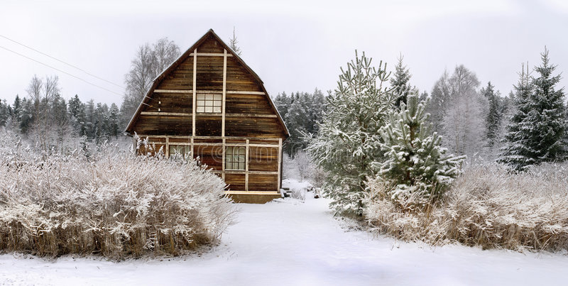 房子全景小的木头 免版税图库摄影