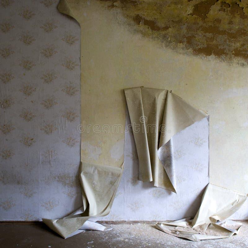 房子剥离的墙纸 库存图片