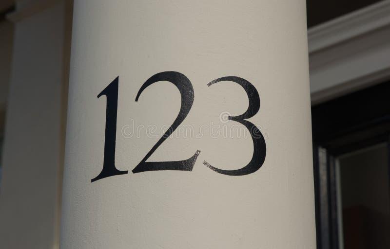 房子号码一百和二十三 库存照片