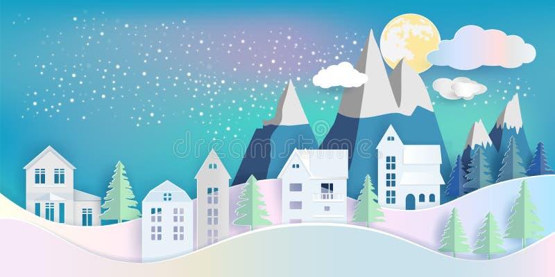 房子和松树看法有山的在下冬天夜 库存例证