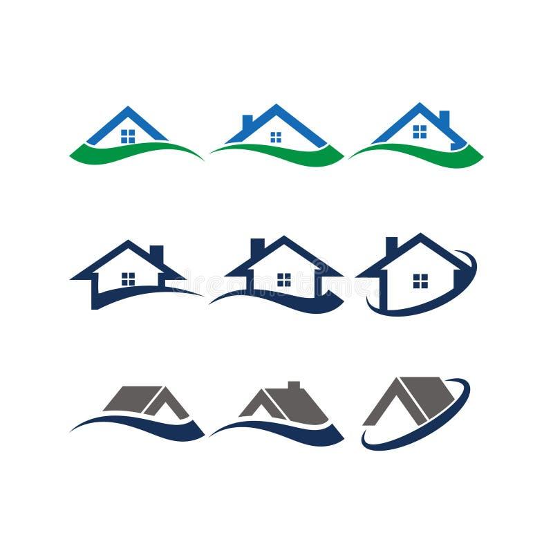 房子和swoosh抽象商标设计观念模板的例证 皇族释放例证