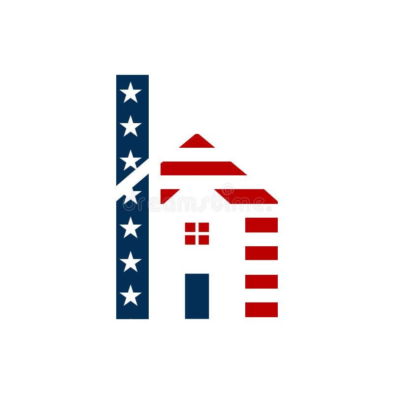 房子商标设计美国h信件  皇族释放例证