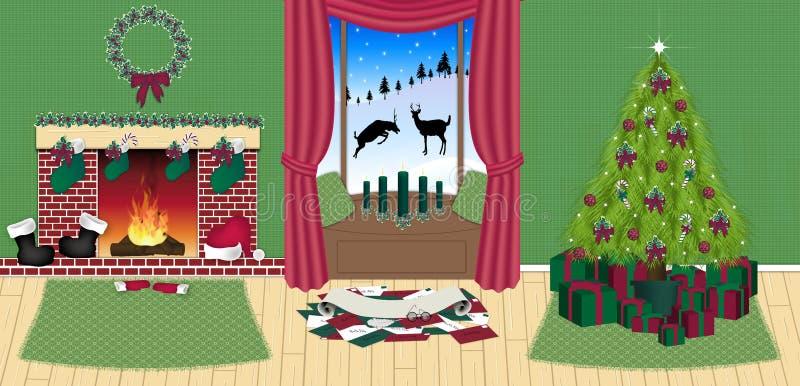 房子圣诞老人 向量例证