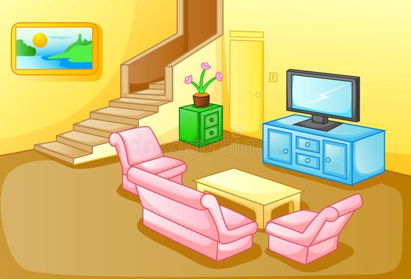 房子客厅的内部 向量例证