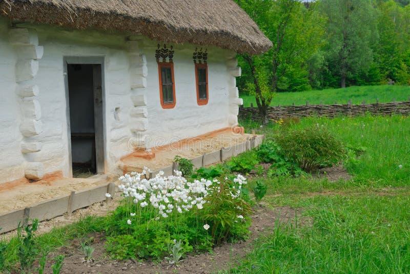 房子屋顶农村秸杆乌克兰语 免版税图库摄影