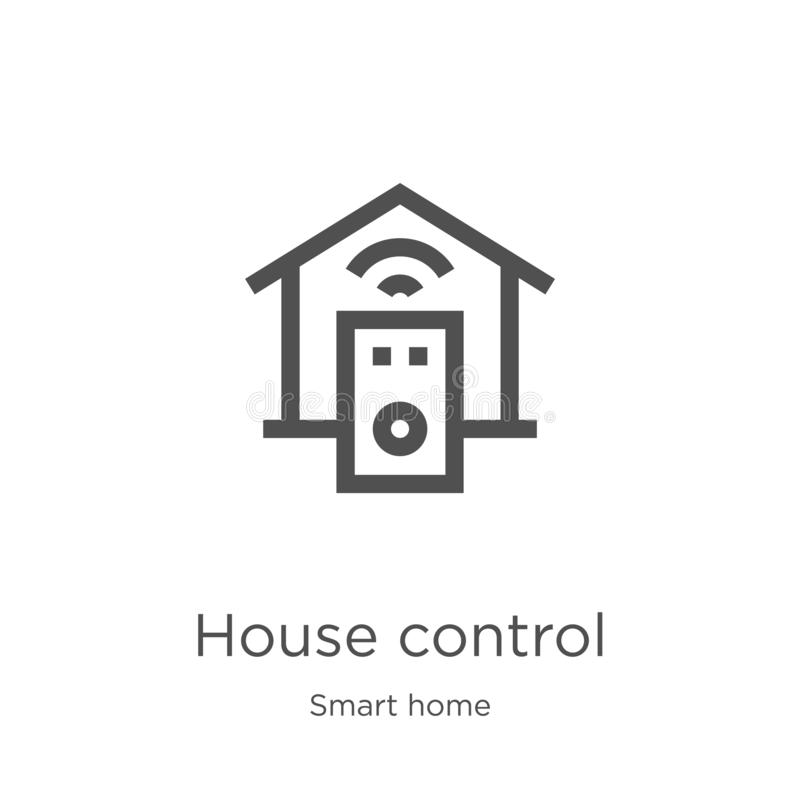 房子控制从聪明的家庭收藏的象传染媒介 稀薄的线房子控制概述象传染媒介例证 概述,稀薄的线 向量例证