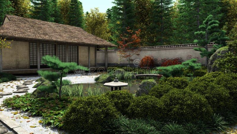 房子日本池塘茶 向量例证
