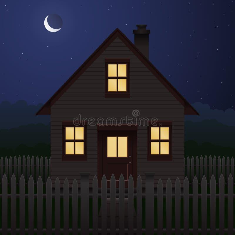 房子晚上 库存例证