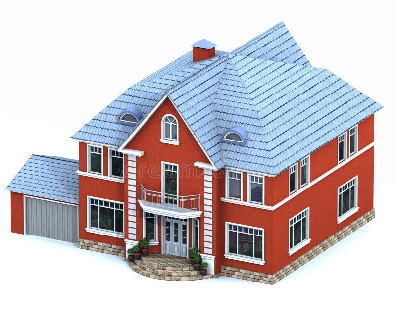 房子模型红色 库存例证