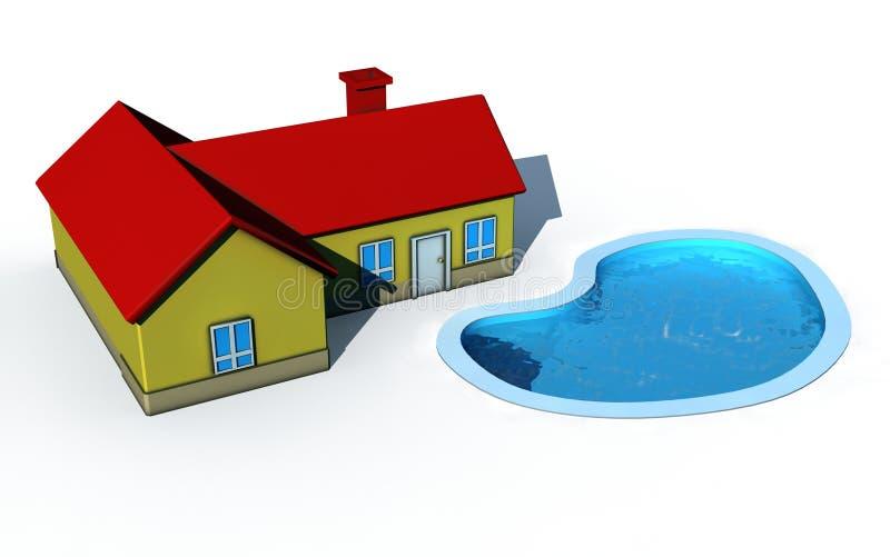 房子池游泳 向量例证