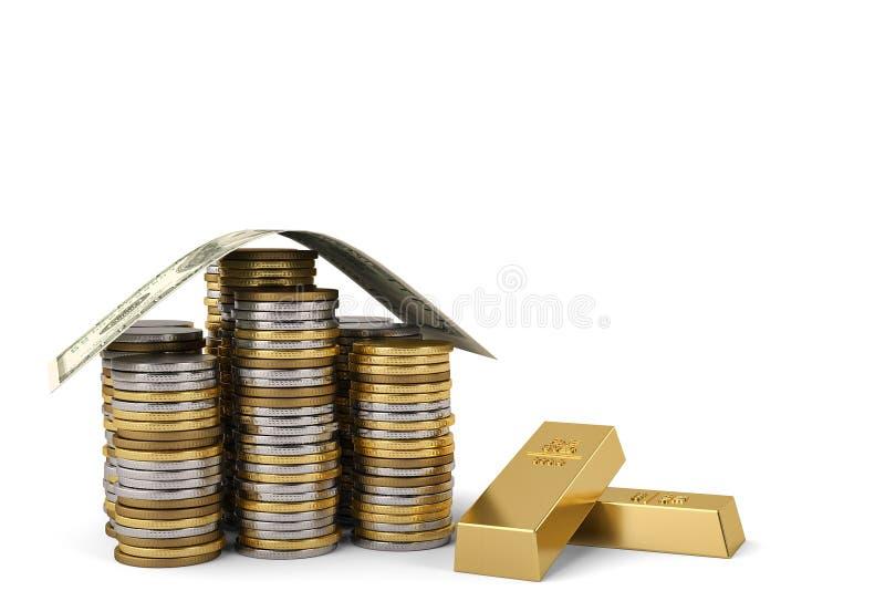 房子由与金砖3D illu的美元和硬币堆做成 库存例证