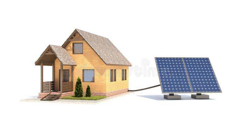 房子的太阳电池板 库存例证