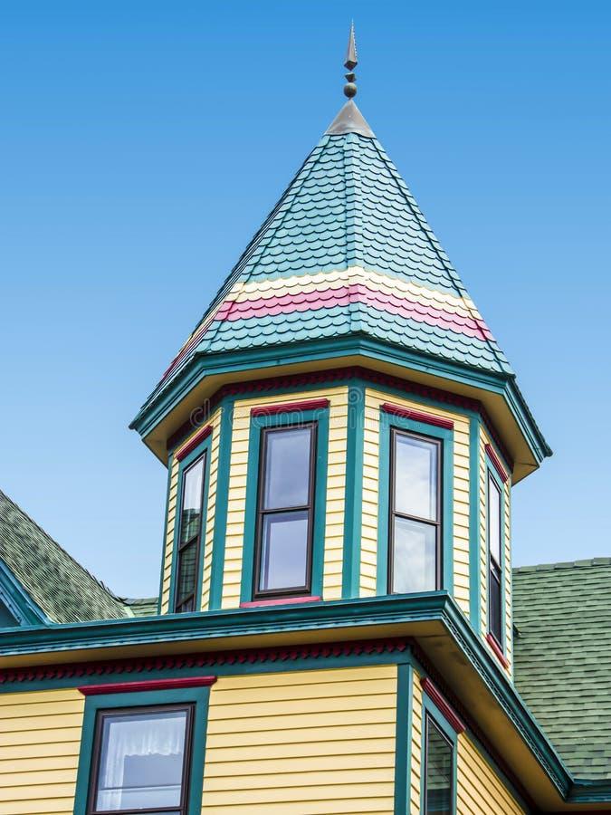 房子的屋顶,维多利亚女王时代的样式,开普梅, NJ,美国 库存照片